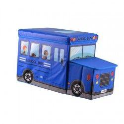 """Cutie/Taburet depozitare jucarii """"Autobuz"""" albastru"""