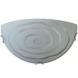 Plafoniera jumatate din sticla, Model spirala, Alba