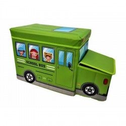 """Cutie/Taburet depozitare jucarii """"Autobuz"""" verde"""