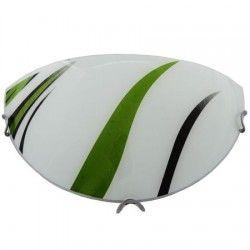 Plafoniera jumatate din sticla, Model artistic-verde, Alba