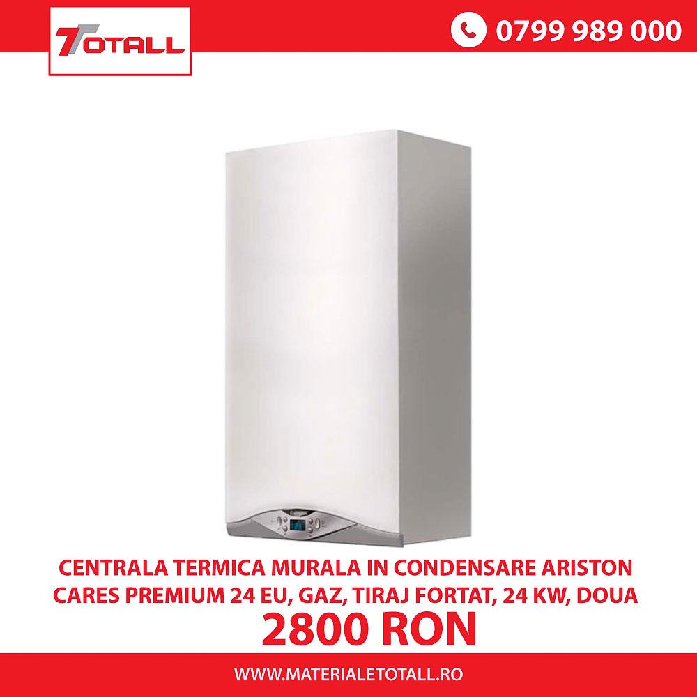 Centrala termica murala in condensare Ariston Cares Premium 23 EU, Gaz, Tiraj fortat, 24 kW, Doua schimbatoare de caldura, Displ