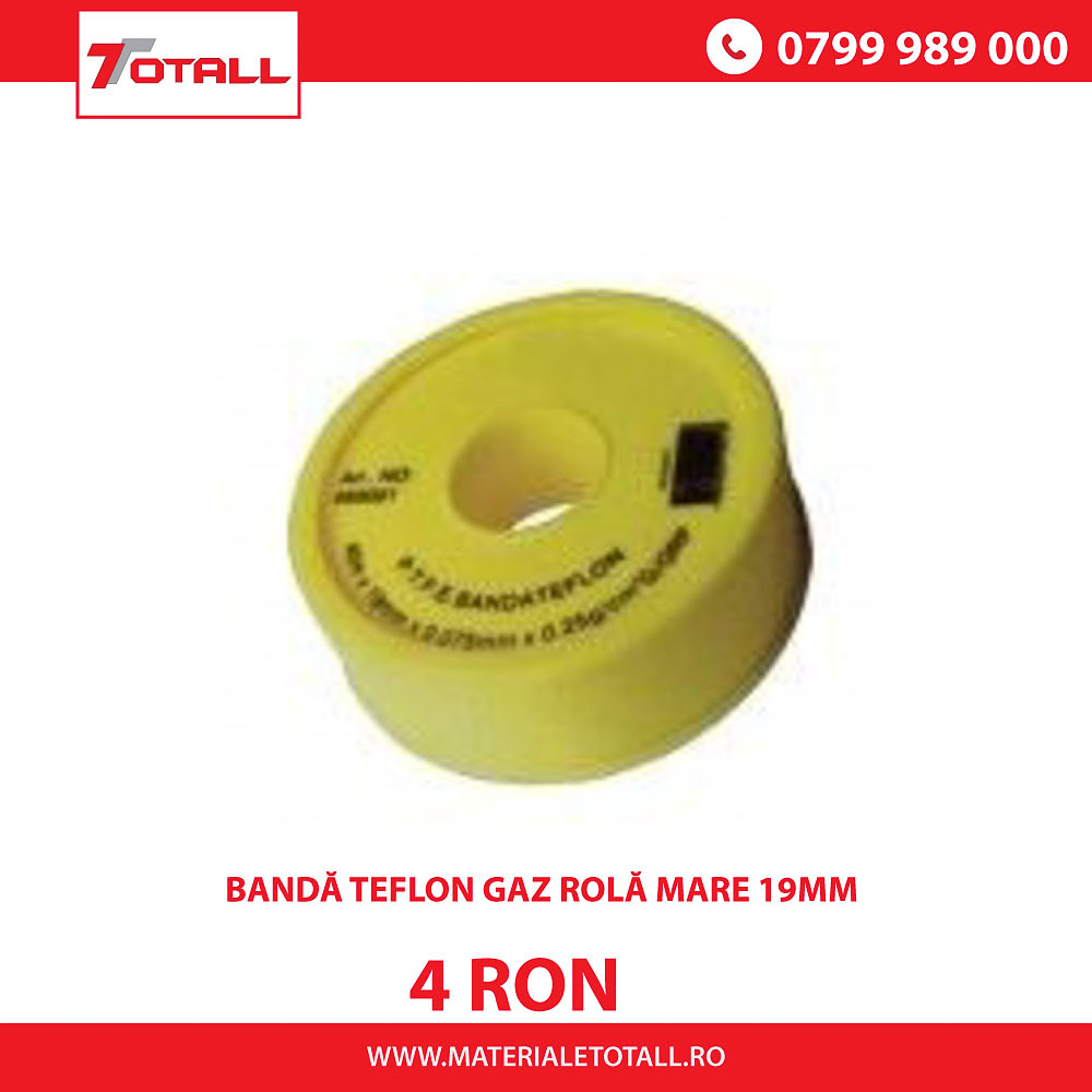 Bandă teflon gaz rolă mare 19mm